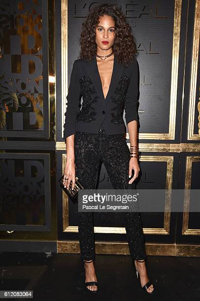 Cindy Bruna attends the Gold Obsession Party L'Oreal Paris Photocall as part of the Paris Fashion Week Womenswear Spring/Summer 2017 on October 2...