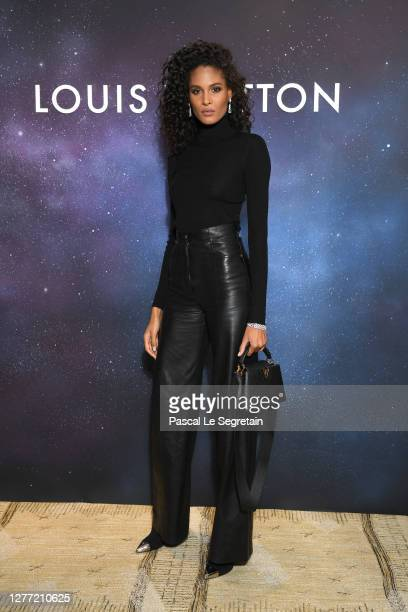 Cindy Bruna attends the Louis Vuitton Stellar Jewelry Cocktail Event at Place Vendome on September 28, 2020 in Paris, France.