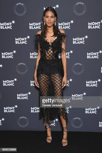 Cindy Bruna attends the Montblanc dinner hosted by Charlotte Casiraghi for the collection launch 'Les Aimants at Villa La Favorite on May 16 2018 in...