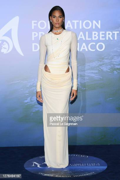 Cindy Bruna attends the Monte-Carlo Gala For Planetary Health on September 24, 2020 in Monte-Carlo, Monaco.