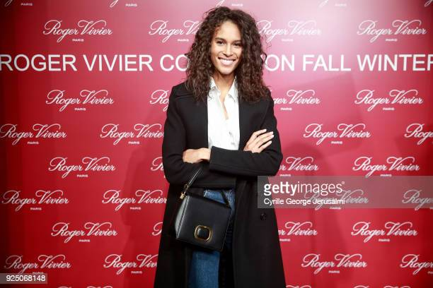 Cindy Bruna attends the Roger Vivier Fall/Winter 2018 Press Presentation at Espace Cambon Capucines during Paris Fashion week on February 27 2018 in...