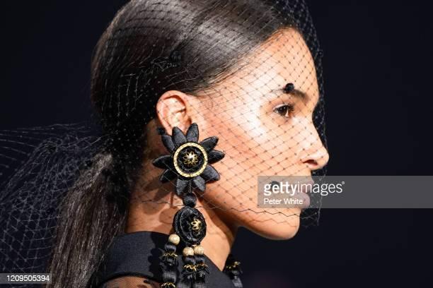 Cindy Bruna, fashion detail, walks the runway during the Elie Saab show as part of the Paris Fashion Week Womenswear Fall/Winter 2020/2021 on...