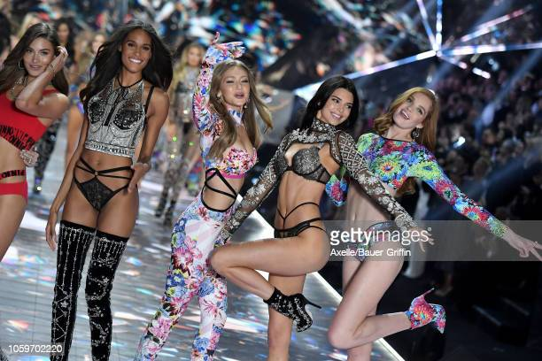 Cindy Bruna Gigi Hadid Kendall Jenner and Alexina Graham walk the runway during the 2018 Victoria's Secret Fashion Show at Pier 94 on November 8 2018...