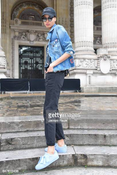 Cindy Bruna is seen arriving at Elie Saab fashion show during the Paris Fashion Week Womenswear Fall/Winter 2017/2018 on March 4 2017 in Paris France