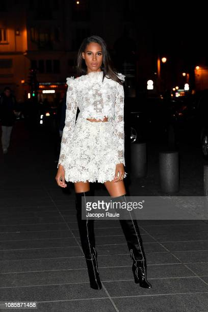 Cindy Bruna is seen arriving at the Giambattista Valli Haute Couture Spring Summer 2019 show as part of Paris Fashion Week on January 21 2019 in...