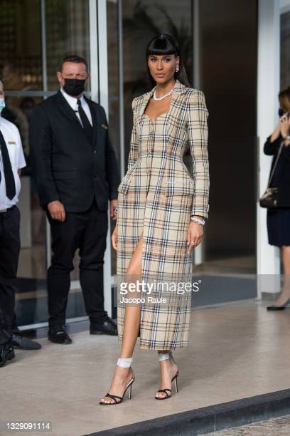 Cindy Bruna is seen during the 74th annual Cannes Film Festival at on July 16, 2021 in Cannes, France.