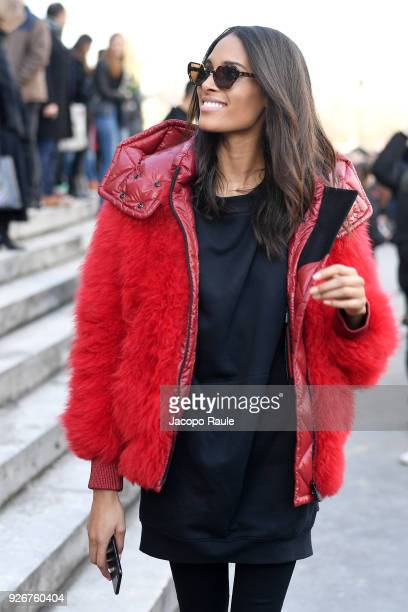 Cindy Bruna is seen leaving Elie Saab fashion show during Paris Fashion Week Womenswear Fall/Winter 2018/2019 on March 3 2018 in Paris France
