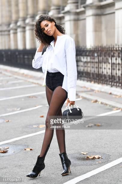 Cindy Bruna is seen leaving Redemption fashion show during Paris Fashion Week - Womenswear Spring Summer 2020 on September 26, 2019 in Paris, France.