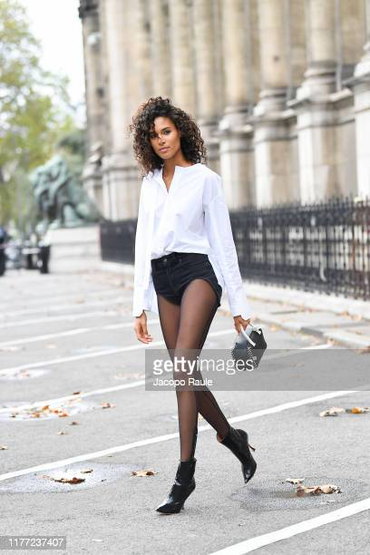 Cindy Bruna is seen leaving Redemption fashion show during Paris Fashion Week Womenswear Spring Summer 2020 on September 26 2019 in Paris France