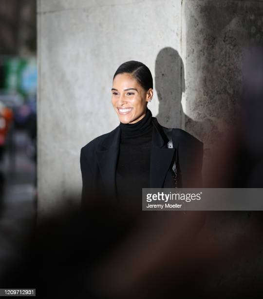 Cindy Bruna is seen outside the Elie Saab show during Paris Fashion week Womenswear Fall/Winter 2020/2021 Day Six on February 29 2020 in Paris France