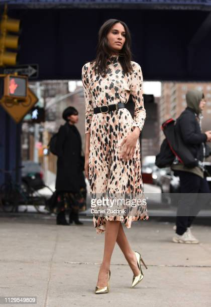 Cindy Bruna is seen wearing a Boss animal print dress outside the Boss show during New York Fashion Week Fall/Winter 2019 on February 13 2019 in New...