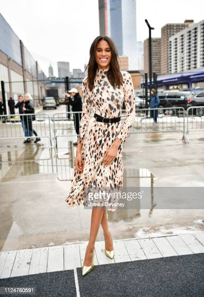 Cindy Bruna leaves the BOSS fashion show at Pier 36 on February 13 2019 in New York City