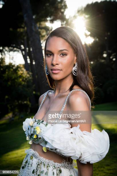 Cindy Bruna poses for portraits at the amfAR Gala Cannes 2018 cocktail at Hotel du CapEdenRoc on May 17 2018 in Cap d'Antibes France
