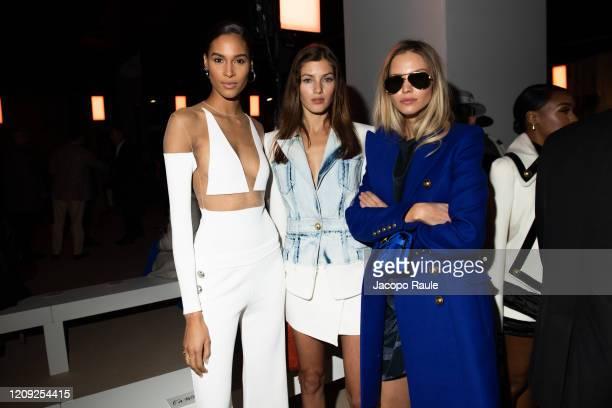 Cindy Bruna Valery Kaufman and Sasha Luss attend the Balmain show as part of the Paris Fashion Week Womenswear Fall/Winter 2020/2021 on February 28...