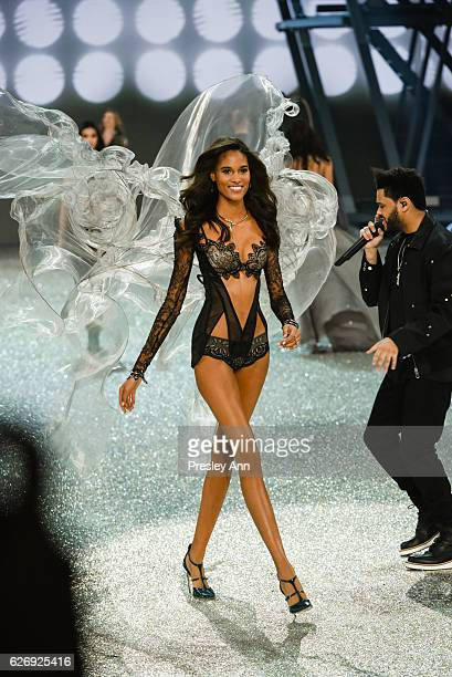 Cindy Bruna walks the runway 2016 Victoria's Secret Fashion Show in Paris Show at Le Grand Palais on November 30 2016 in Paris France