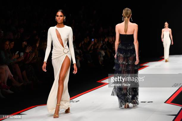 Cindy Bruna walks the runway at the Elisabetta Franchi show at Milan Fashion Week Autumn/Winter 2019/20 on February 23 2019 in Milan Italy