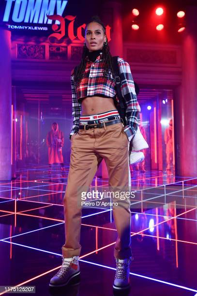 Cindy Bruna walks the runway at the Tommy Hilfiger presentation in Milan during the Milan Fashion Week Spring/Summer 2020 on September 16, 2019 in...