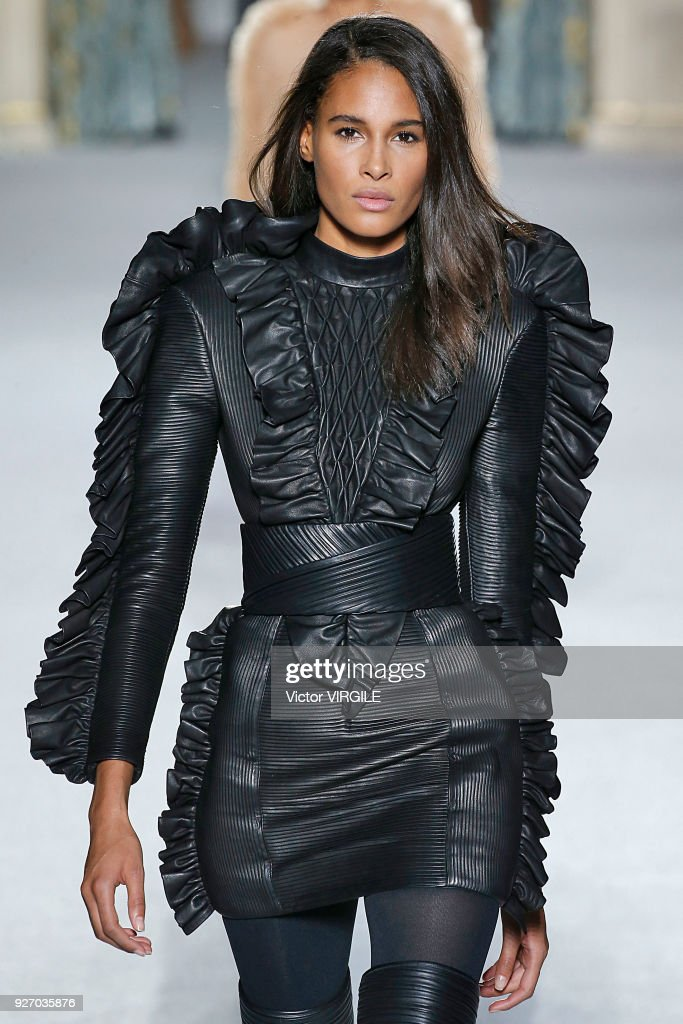 Cindy Bruna walks the runway during the Balmain Ready to Wear fashion show as part of the Paris Fashion Week Womenswear Fall/Winter 2018/2019 on March 2, 2018 in Paris, France.