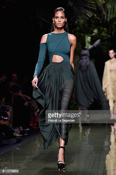 Cindy Bruna walks the runway during the Balmain show as part of the Paris Fashion Week Womenswear Spring/Summer 2017 on September 29 2016 in Paris...