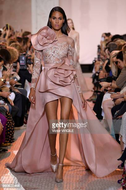 Cindy Bruna walks the runway during the Elie Saab Haute Couture Fall Winter 2018/2019 fashion show as part of Paris Fashion Week on July 4 2018 in...