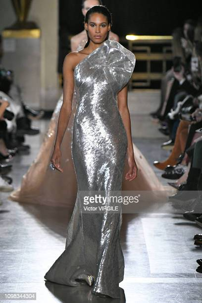 Cindy Bruna walks the runway during the Elie Saab Haute Couture Spring Summer 2019 fashion show as part of Paris Fashion Week on January 23 2019 in...