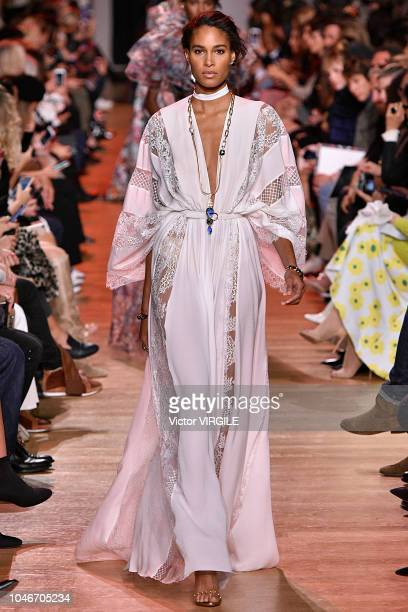 Cindy Bruna walks the runway during the Elie Saab Ready to Wear fashion show as part of the Paris Fashion Week Womenswear Spring/Summer 2019 on...
