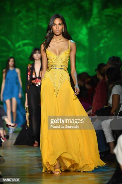 Cindy Bruna walks the runway during the Elie Saab show as part of the Paris Fashion Week Womenswear Spring/Summer 2018 on September 30 2017 in Paris...