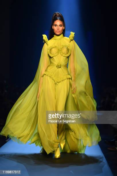Cindy Bruna walks the runway during the Jean Paul Gaultier Haute Couture Fall/Winter 2019 2020 show as part of Paris Fashion Week on July 03, 2019 in...
