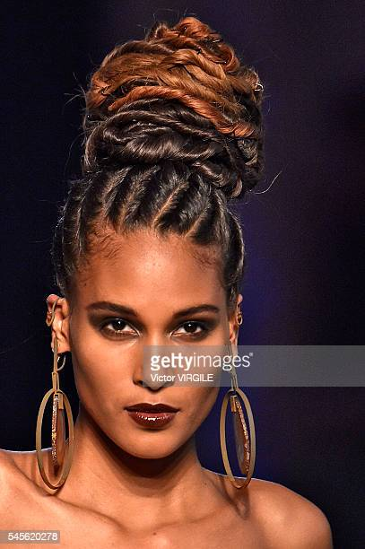 Cindy Bruna walks the runway during the Jean Paul Gaultier Haute Couture Fall/Winter 20162017 show as part of Paris Fashion Week on July 6 2016 in...
