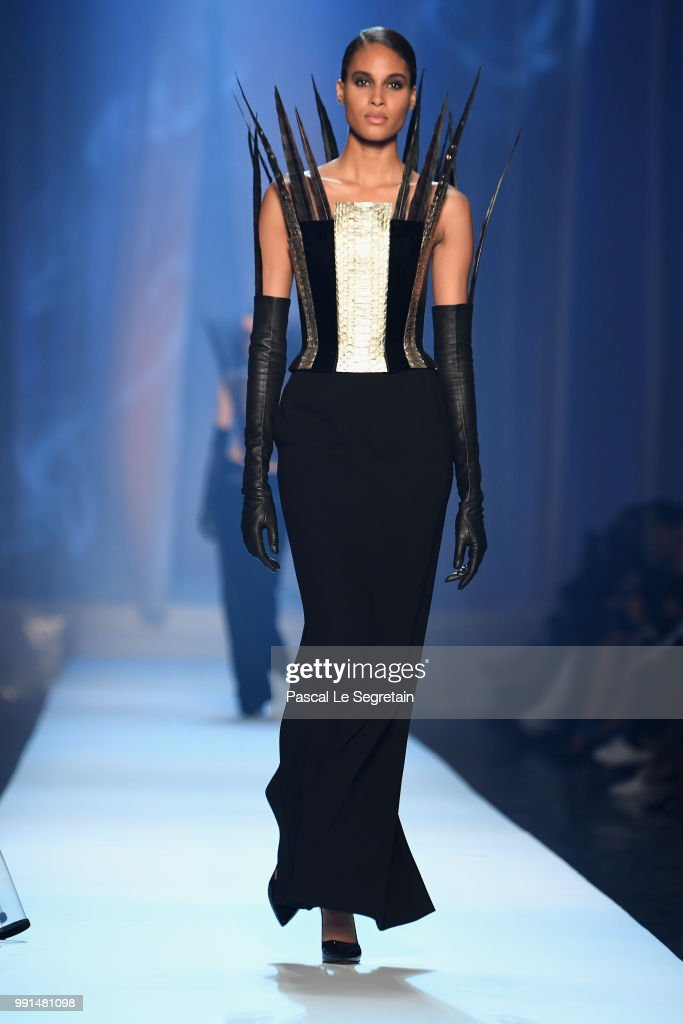 Cindy Bruna walks the runway during the Jean-Paul Gaultier Haute Couture Fall Winter 2018/2019 show as part of Paris Fashion Week on July 4, 2018 in Paris, France.
