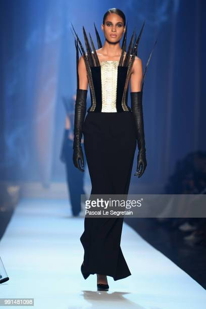 Cindy Bruna walks the runway during the JeanPaul Gaultier Haute Couture Fall Winter 2018/2019 show as part of Paris Fashion Week on July 4 2018 in...
