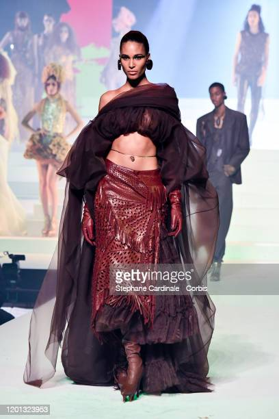 Cindy Bruna walks the runway during the Jean-Paul Gaultier Haute Couture Spring/Summer 2020 show as part of Paris Fashion Week at Theatre Du Chatelet...