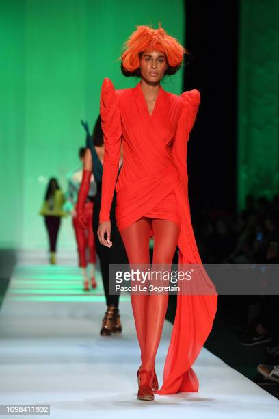 Cindy Bruna walks the runway during the JeanPaul Gaultier Spring Summer 2019 show as part of Paris Fashion Week on January 23 2019 in Paris France