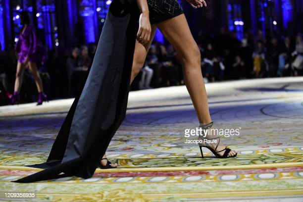 Cindy Bruna walks the runway during the Redemption show as part of the Paris Fashion Week Womenswear Fall/Winter 2020/2021 on February 28 2020 in...