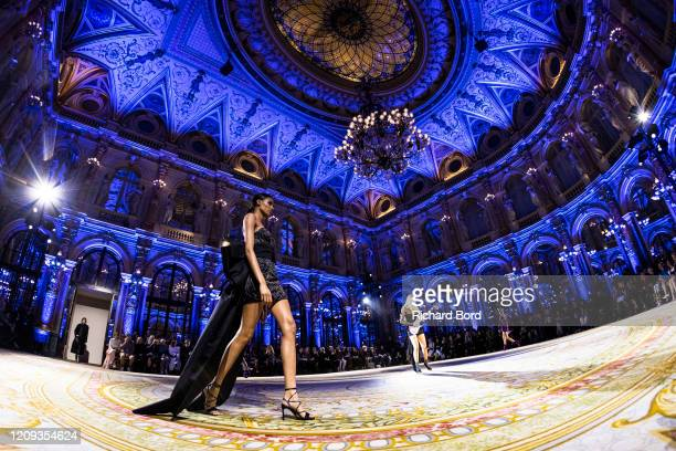 Cindy Bruna walks the runway during the Redemption show at InterContinental Hotel as part of the Paris Fashion Week Womenswear Fall/Winter 2020/2021...