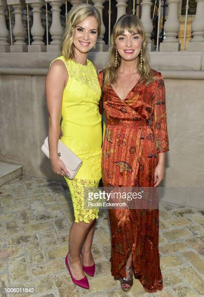Cindy Busby and Britt Irvin pose for portrait at the 2018 Hallmark Channel Summer TCA at a private residence on July 26, 2018 in Beverly Hills,...