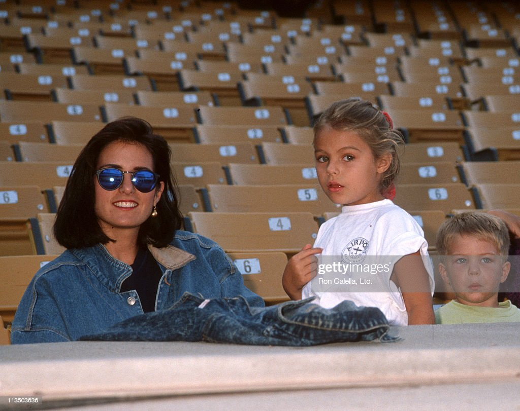 Cindy Costner, Annie Costner and Joe Costner during Hollywood All-Star Game at Dodger Stadium in Los Angeles, California, United States.