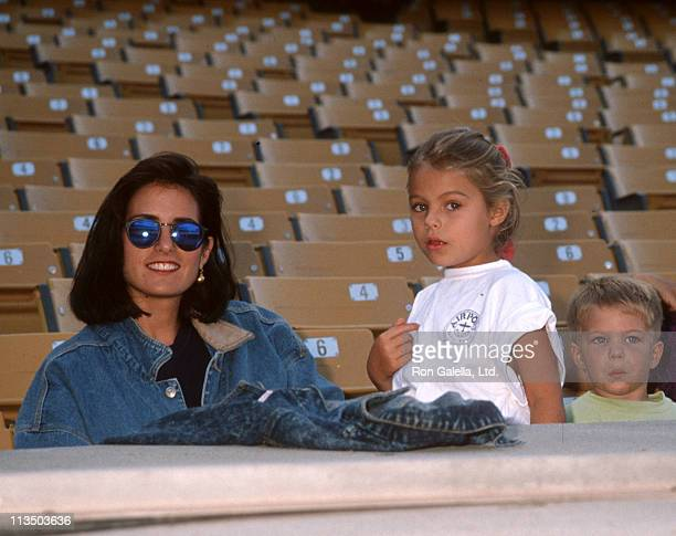 Cindy Costner Annie Costner and Joe Costner during Hollywood AllStar Game at Dodger Stadium in Los Angeles California United States
