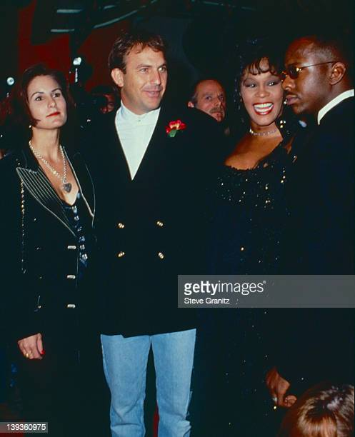 Cindy Costner Kevin Costner Whitney Houston and Bobby Brown Circa 1992 in Los Angeles California