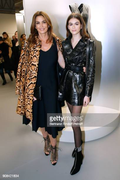 Cindy Crawford and her daughter Kaia Gerber attend the 'Azzedine Alaia Je Suis Couturier' Exhibition as part of Paris Fashion Week Held at 'Azzedine...