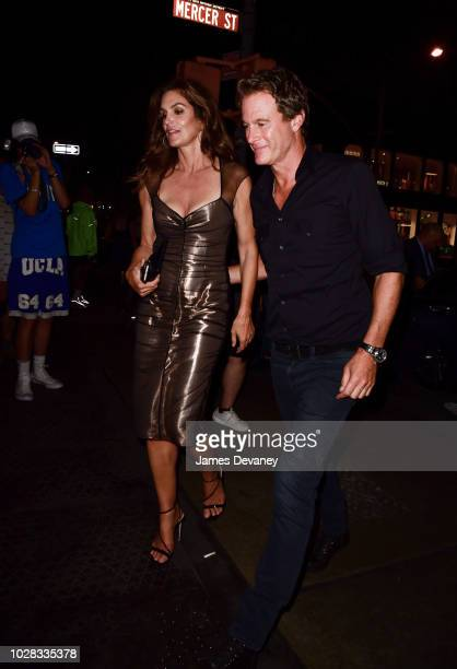 Cindy Crawford and Rande Gerber arrive to the Mercer Hotel on September 6 2018 in New York City