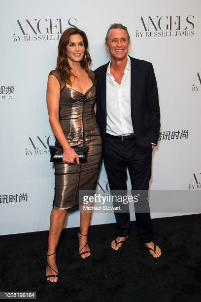 Cindy Crawford and Russell James attend the Russell James 'Angels' book launch & exhibit at Stephan Weiss Studio on September 6, 2018 in New York...