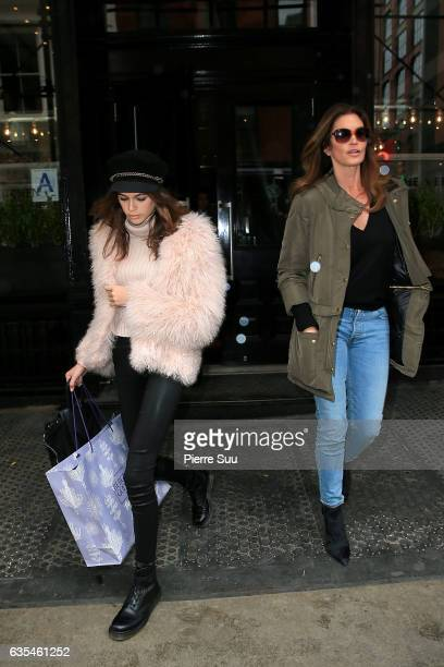 Cindy Crawford andher daughter Kaia Gerber are seen leaving the Mercer hotel on February 15 2017 in New York City