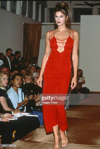 Cindy Crawford at the Giorgio Sant'Angelo Fall 1992 show circa 1992 in New York City