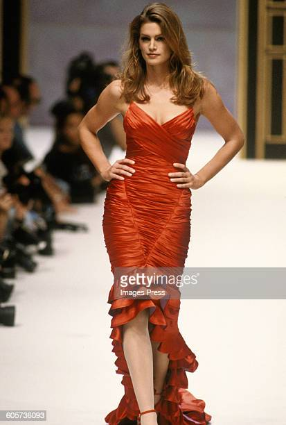 Cindy Crawford at the Herve Leger Spring 1996 show circa 1995 in Paris France