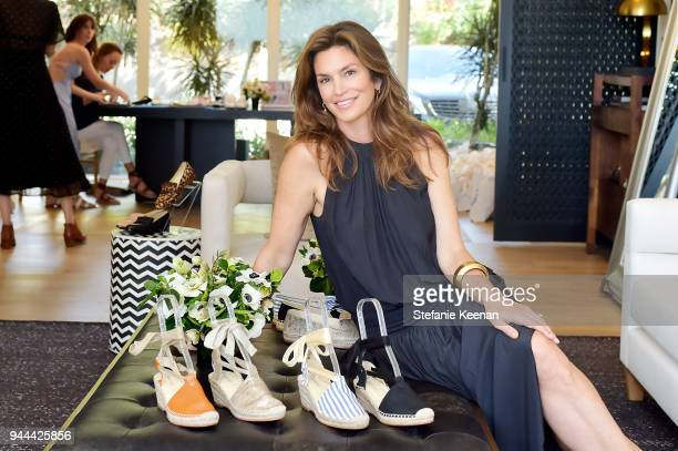 Cindy Crawford attends Cindy Crawford x Sarah Flint celebrate the Sarah Flint spring footwear collection at a private residence on April 10 2018 in...