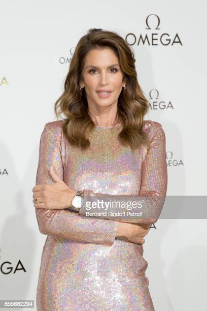 """Cindy Crawford attends """"Her Time"""" Omega Photocall as part of the Paris Fashion Week Womenswear Spring/Summer 2018 on September 29, 2017 in Paris,..."""
