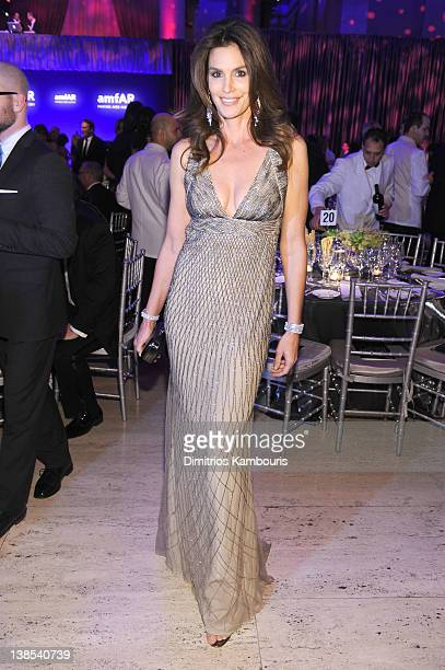 Cindy Crawford attends the amfAR New York Gala To Kick Off Fall 2012 Fashion Week Presented By Hublot at Cipriani Wall Street on February 8 2012 in...