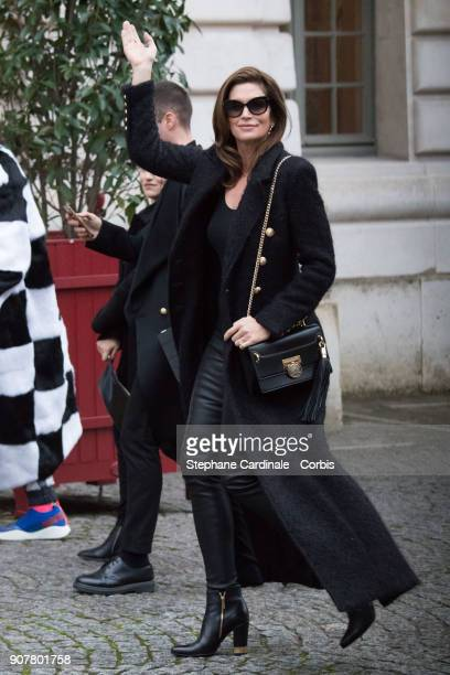 Cindy Crawford attends the Balmain Homme Menswear Fall/Winter 20182019 show as part of Paris Fashion Wee January 20 2018 in Paris France