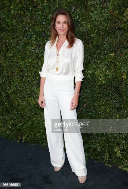Cindy Crawford attends the CHANEL Dinner Celebrating Our Majestic Oceans, A Benefit For NRDC on June 2, 2018 in Malibu, California.